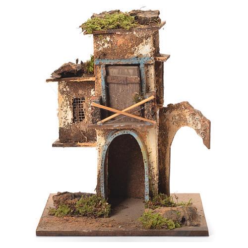 Maison 2 étages crèche napolitaine 26x20x19 cm 1