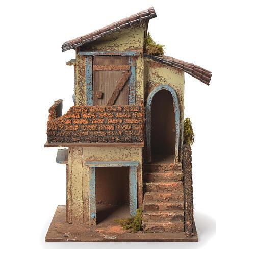 Maison en bois crèche napolitaine 31x20x19 cm 1