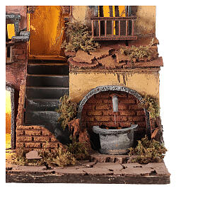 Neapolitan Nativity Village, 1700 style with fountain 30x30x30cm s2