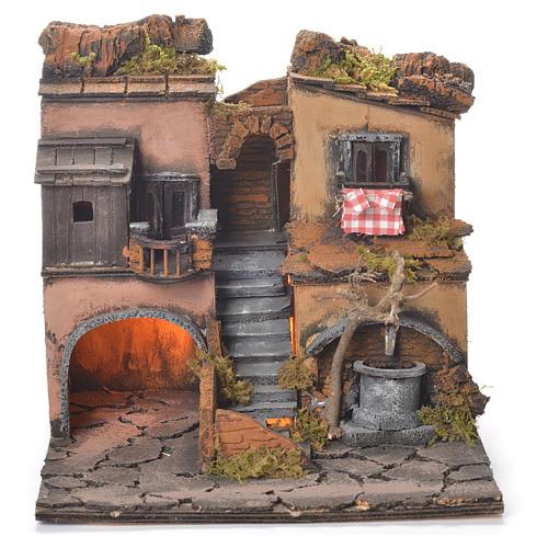 Village crèche napolitaine style 1700 avec fontaine 30x30x30 cm 1