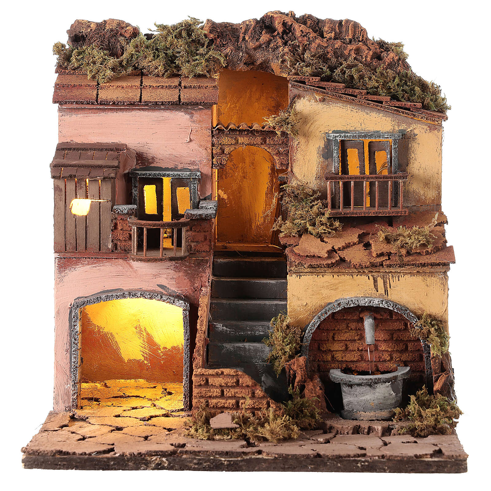 Borgo presepe napoletano stile 700 con fontana 30x30x30 4