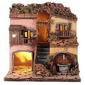 Borgo presepe napoletano stile 700 con fontana 30x30x30 s1