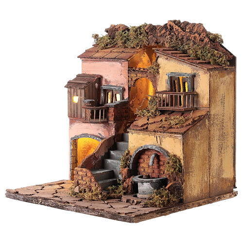 Borgo presepe napoletano stile 700 con fontana 30x30x30 3