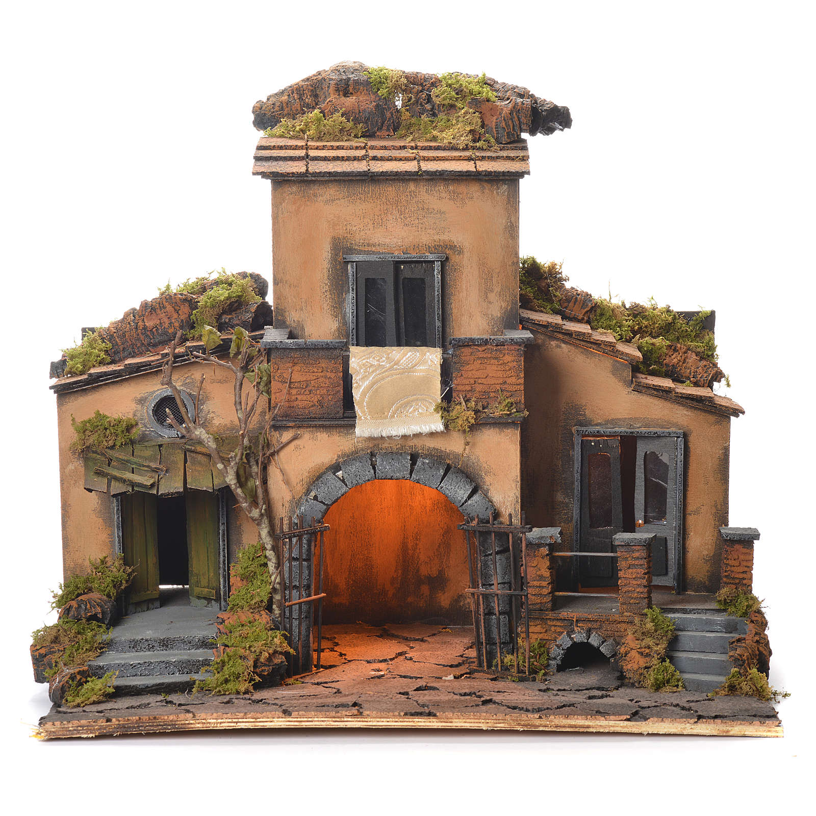 Neapolitan Nativity Village, 1700 style with gate 48x55x35cm 4