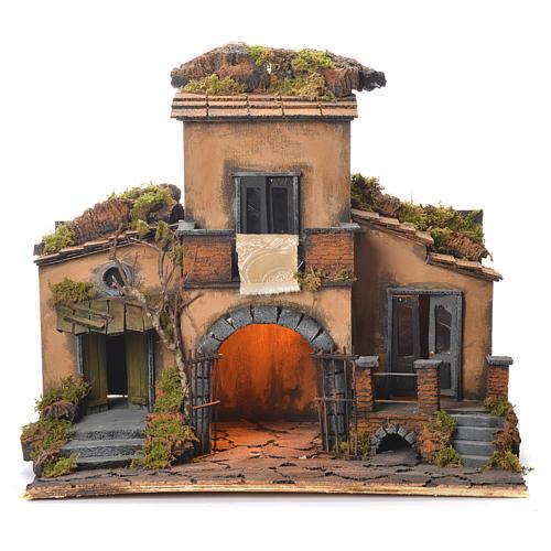 Neapolitan Nativity Village, 1700 style with gate 48x55x35cm 1