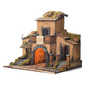 Borgo presepe napoletano stile 700 con cancello 48x55x35 s3
