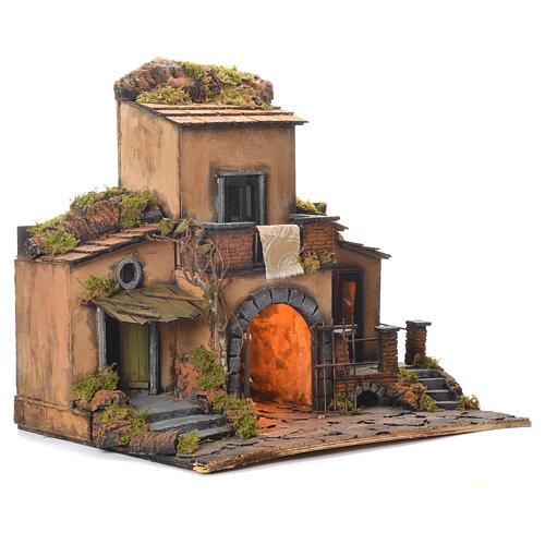Borgo presepe napoletano stile 700 con cancello 48x55x35 2