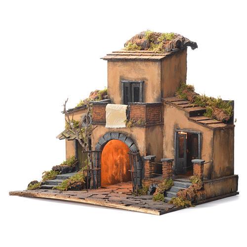 Borgo presepe napoletano stile 700 con cancello 48x55x35 3
