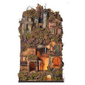 Crèche Napolitaine: Village crèche napolitaine style 1700 portail et moulin 70x40x30 cm