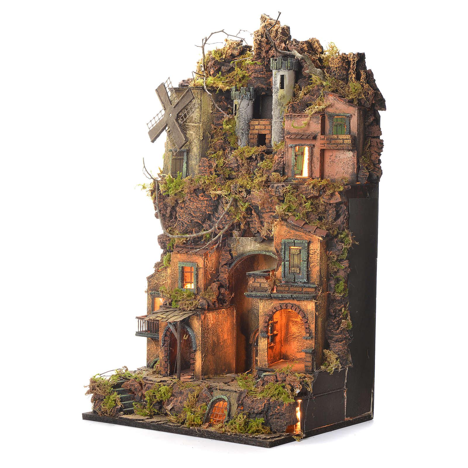 Borgo presepe napoletano stile 700 castello e mulino 70x40x30 4
