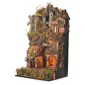 Borgo presepe napoletano stile 700 castello e mulino 70x40x30 s3