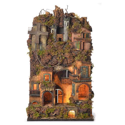 Borgo presepe napoletano stile 700 castello e mulino 70x40x30 1