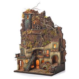 Borgo presepe Napoli stile 700 castello e mulino 65x40x30 s3