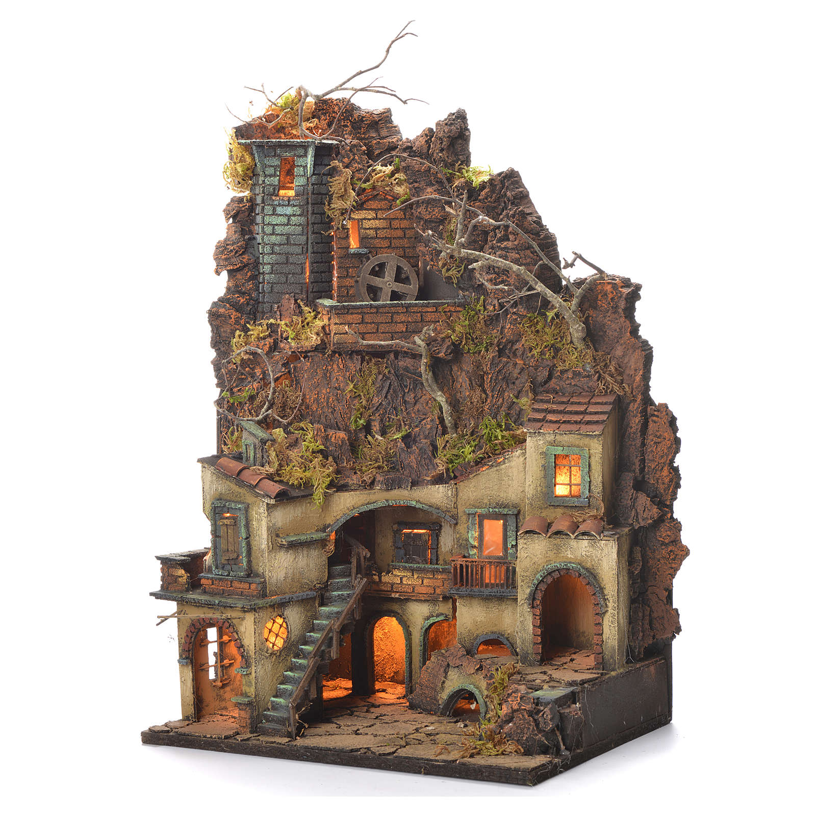 Neapolitan Nativity Village, 1700 style with castle and mill 65x40x30cm 4