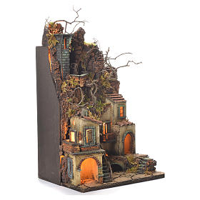 Neapolitan Nativity Village, 1700 style with castle and mill 65x40x30cm s2