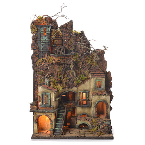 Neapolitan Nativity Village, 1700 style with castle and mill 65x40x30cm 1