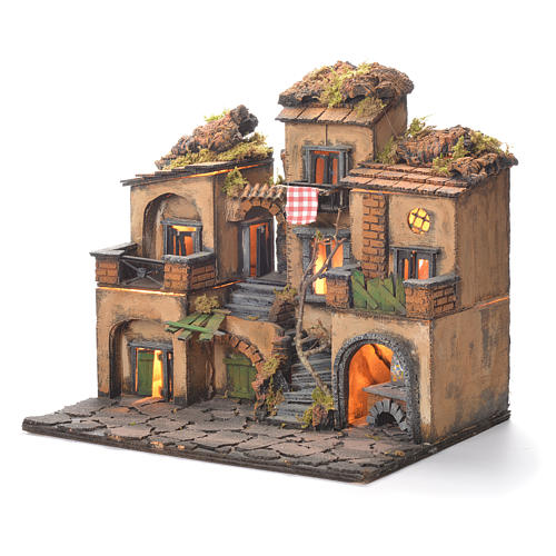 Neapolitan Nativity Village, 1700 style 45x35x33cm 3