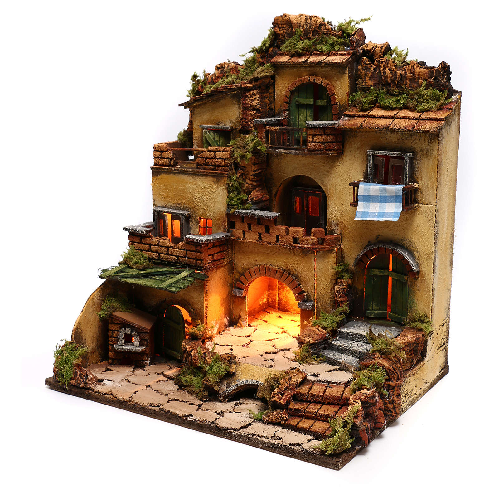 Neapolitan nativity, village 1700 style with grotto 45x35x33cm 4