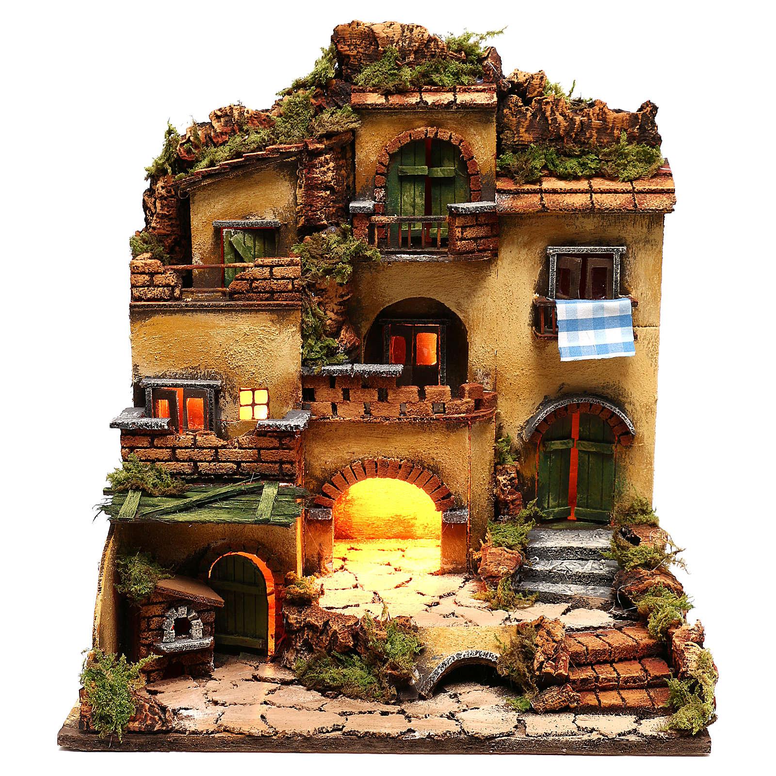 Village crèche avec grotte style 1700 45x35x33 cm 4