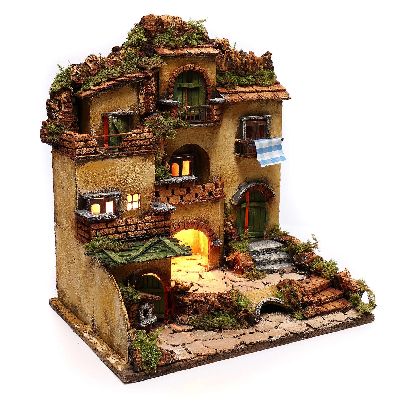 Borgo presepe con grotta stile 700 45x35x33 4