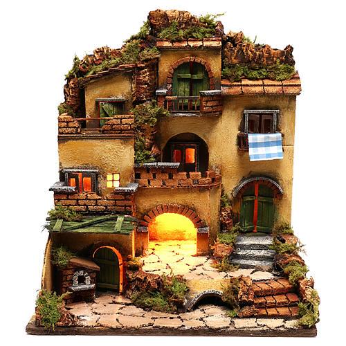 Borgo presepe con grotta stile 700 45x35x33 1