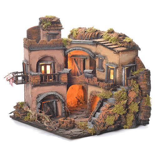 Borgo presepe napoletano stile 700 con pozzo 32x35x30 1