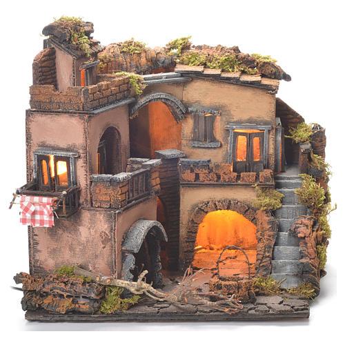 Borgo presepe napoletano stile 700 con pozzo 32x35x30 2