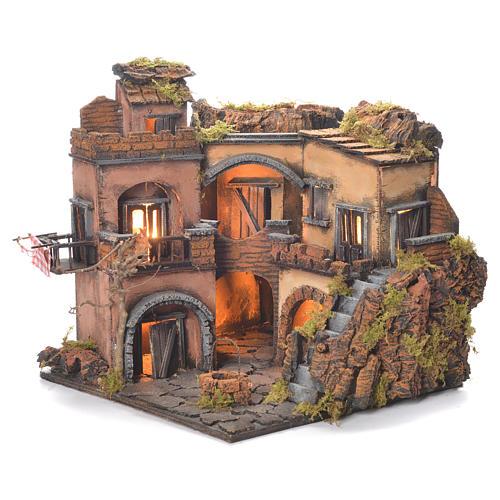 Borgo presepe napoletano stile 700 con pozzo 32x35x30 5