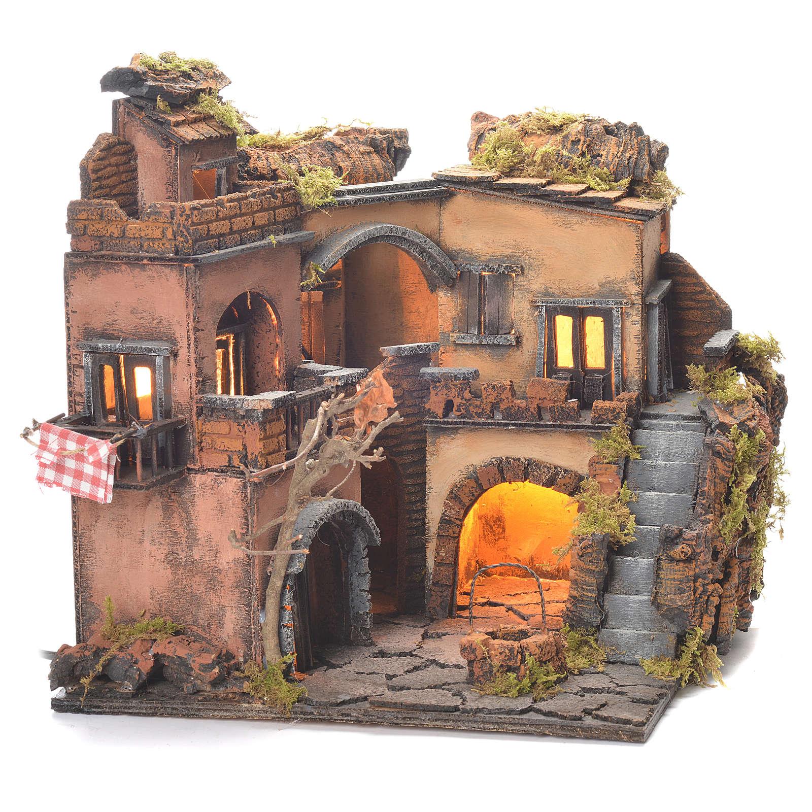 Neapolitan Nativity Village, 1700 style with well 32x35x30cm 4
