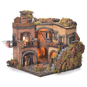 Neapolitan Nativity Village, 1700 style with well 32x35x30cm s5