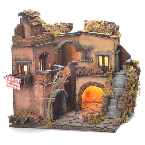 Neapolitan Nativity Village, 1700 style with well 32x35x30cm 6