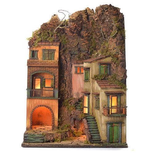 Borgo presepe stile 700 paesaggio e montagne 70x50x42 1