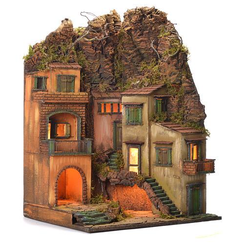 Borgo presepe stile 700 paesaggio e montagne 70x50x42 2