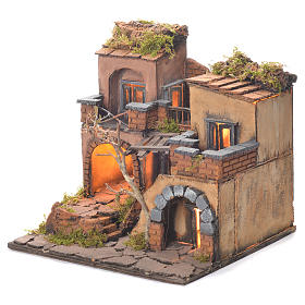 Neapolitan Nativity Village, 1700 style with oven 35x30x30cm s3