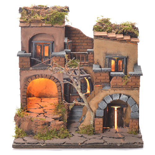 Neapolitan Nativity Village, 1700 style with oven 35x30x30cm 1