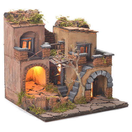 Neapolitan Nativity Village, 1700 style with oven 35x30x30cm 2