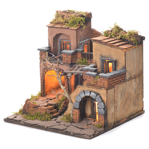 Neapolitan Nativity Village, 1700 style with oven 35x30x30cm 3