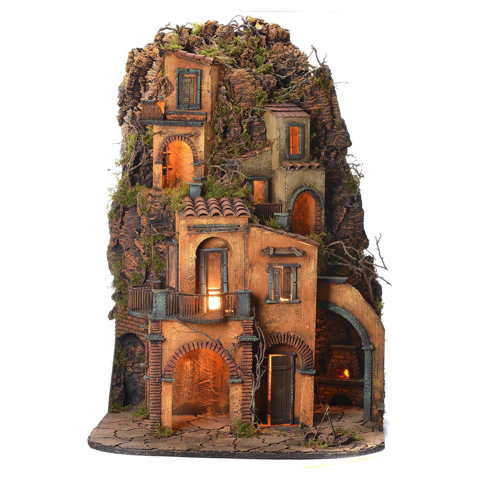 Borgo presepe napoletano stile 700 arroccato 85x60x64 4