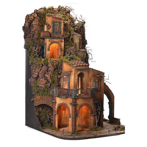 Borgo presepe napoletano stile 700 arroccato 85x60x64 3
