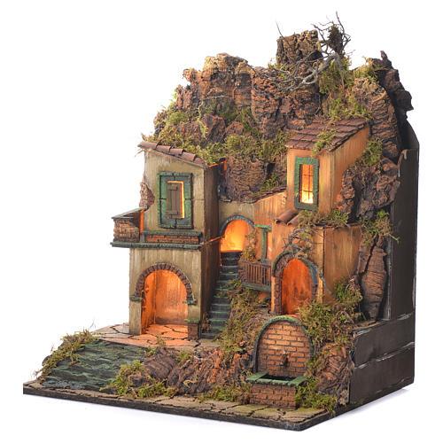 Dorf für Krippe mit kleinem Brunnen 50x50x40cm 3