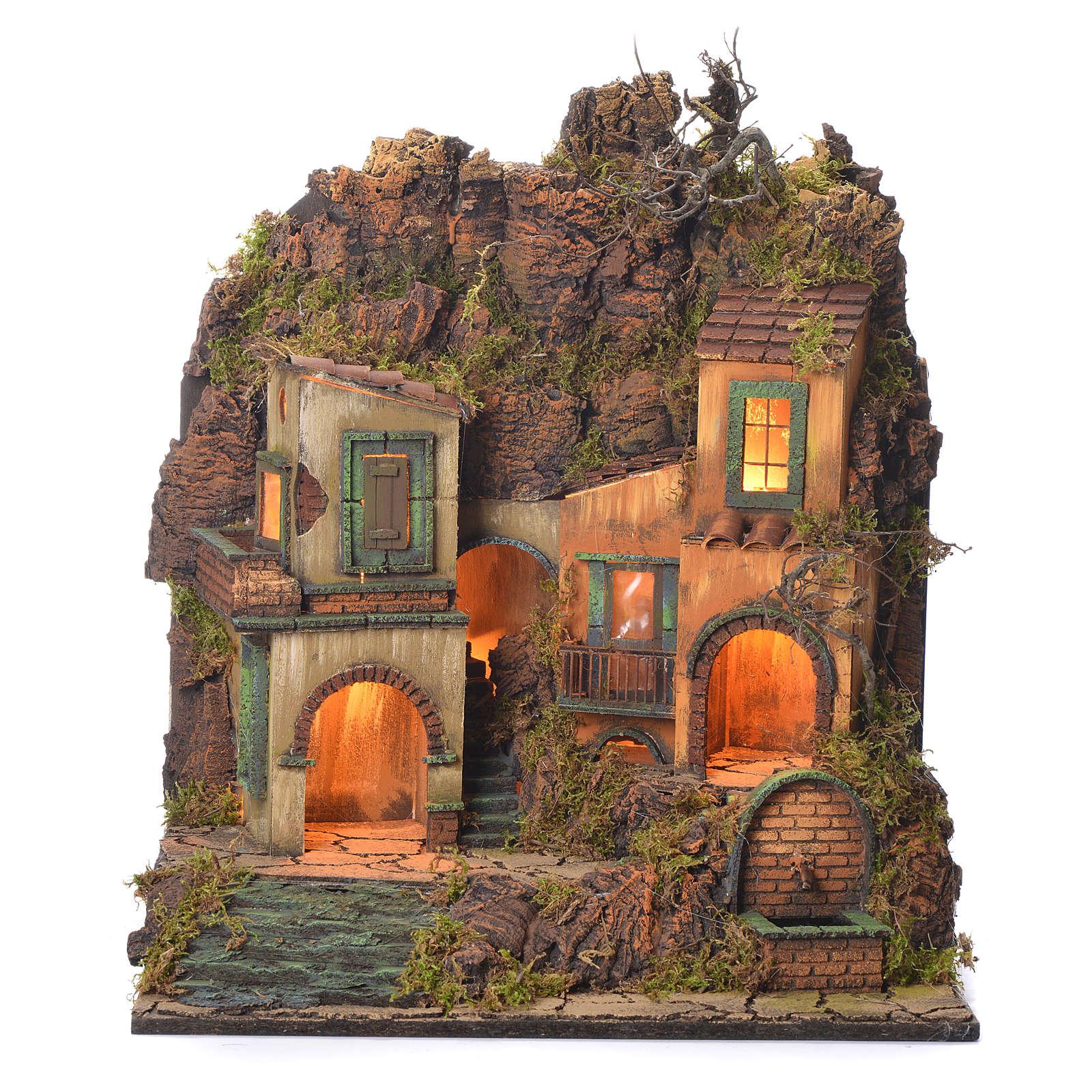 Borgo presepe napoletano stile 700 con fontanella 50x50x40 4
