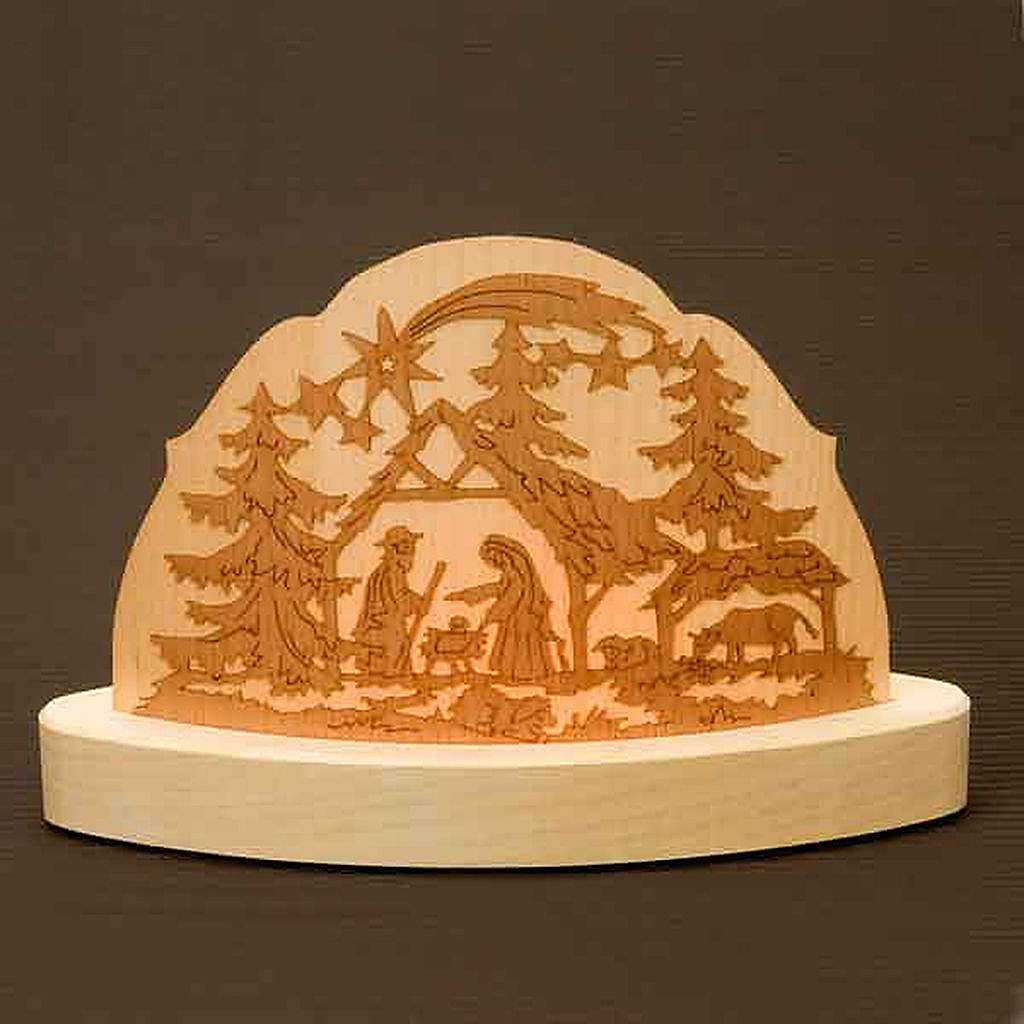 Portacandela in legno con presepe addobbi natalizi 3