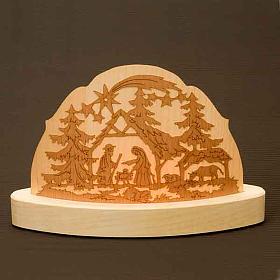 Portacandela in legno con presepe addobbi natalizi s3