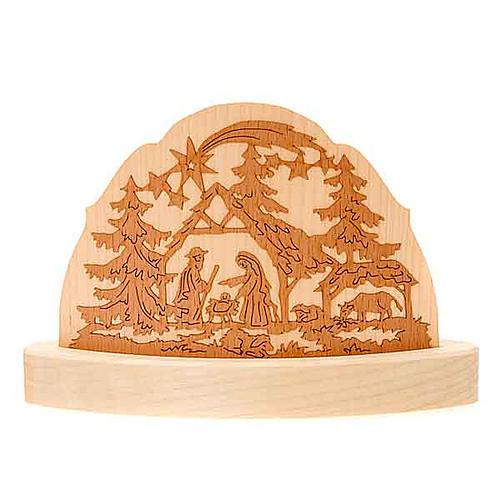 Portacandela in legno con presepe addobbi natalizi 1