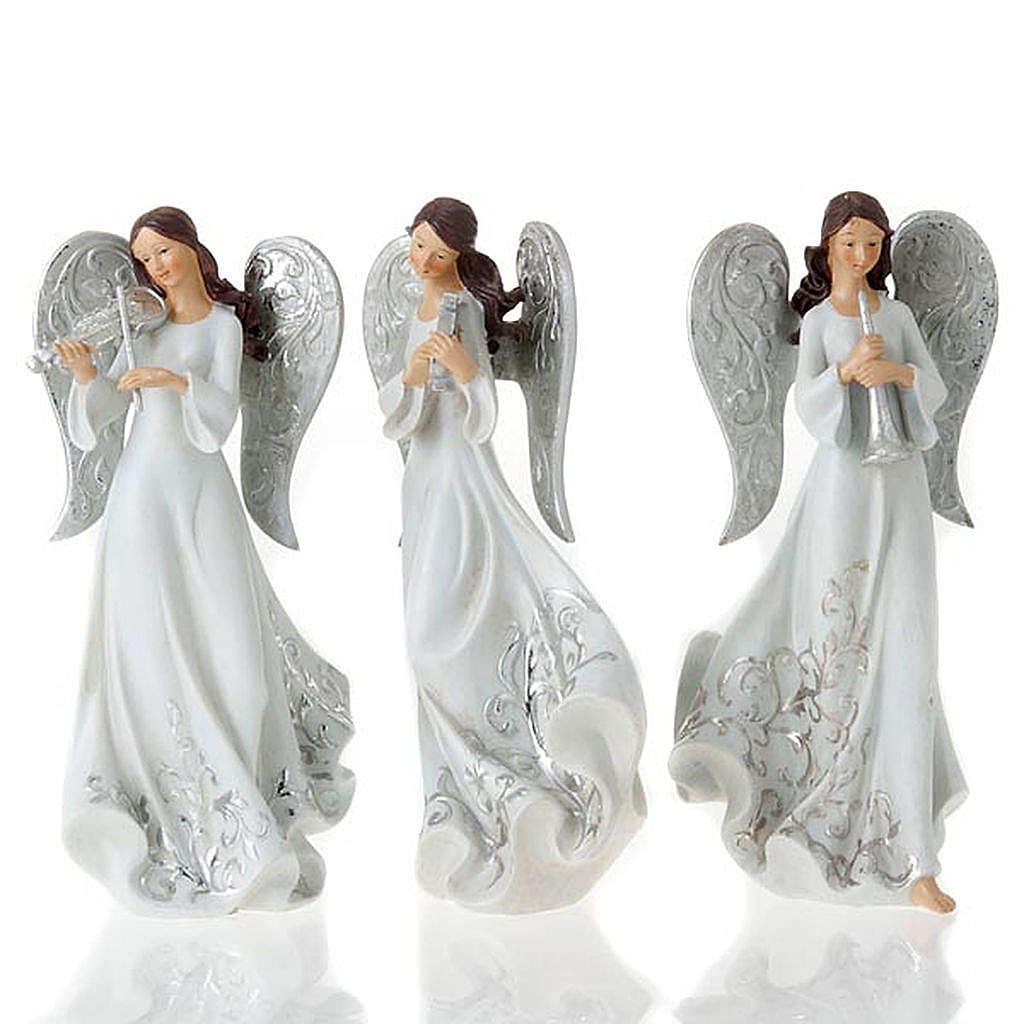 Statuine Tre Angeli con strumenti bianco e argentato 3