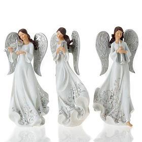 Statuine Tre Angeli con strumenti bianco e argentato s1