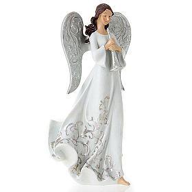 Statuine Tre Angeli con strumenti bianco e argentato s3