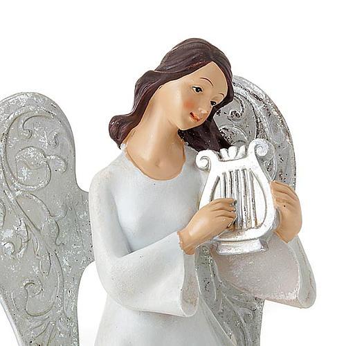 Statuine Tre Angeli con strumenti bianco e argentato 2