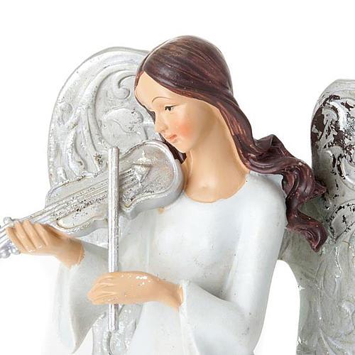 Statuine Tre Angeli con strumenti bianco e argentato 4