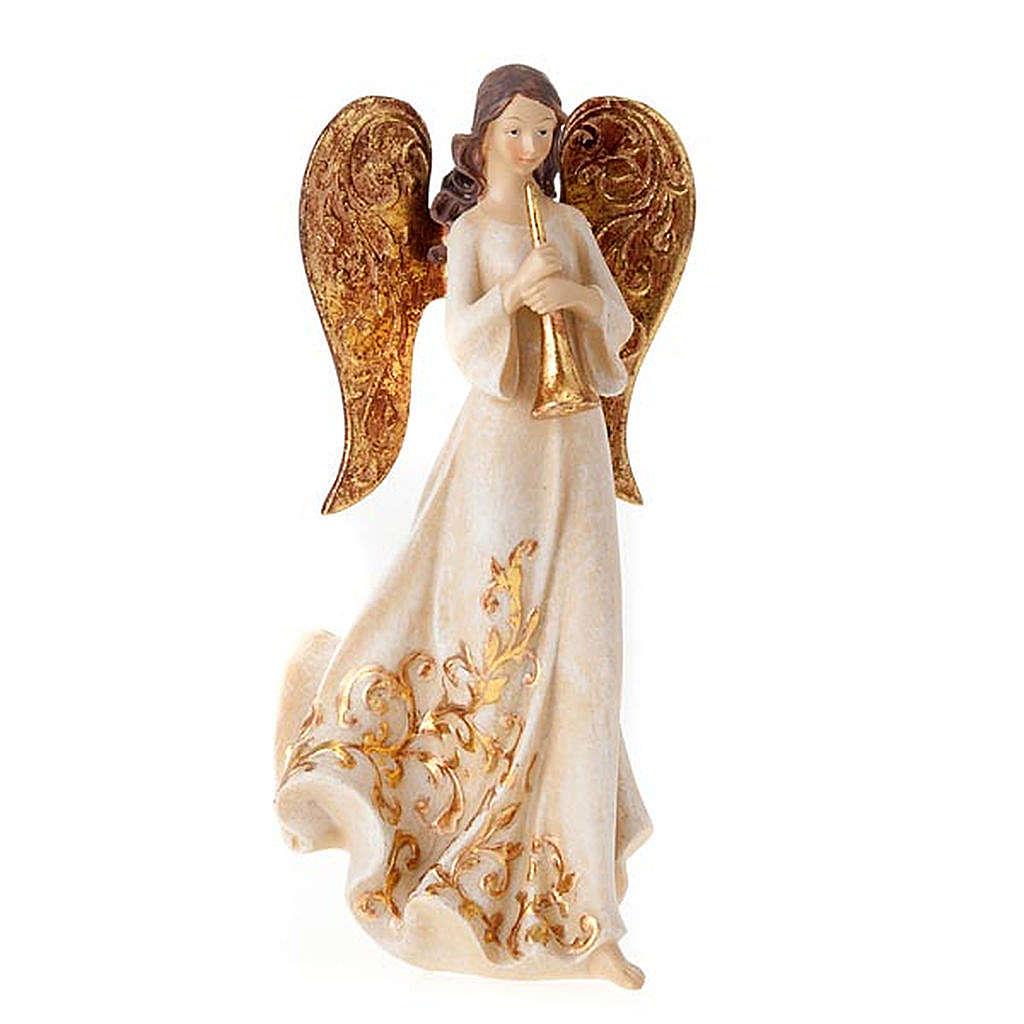 Statuine Tre Angeli con strumenti bianco e dorato 3